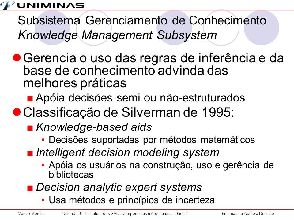 Sistemas de Apoio à DecisãoMárcio MoreiraUnidade 3 – Estrutura dos SAD: Componentes e Arquitetura – Slide 4 Subsistema Gerenciamento de Conhecimento K