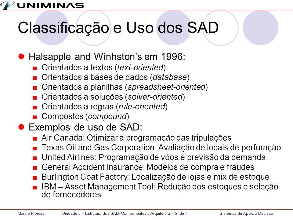 Sistemas de Apoio à DecisãoMárcio MoreiraUnidade 3 – Estrutura dos SAD: Componentes e Arquitetura – Slide 7 Classificação e Uso dos SAD Halsapple and