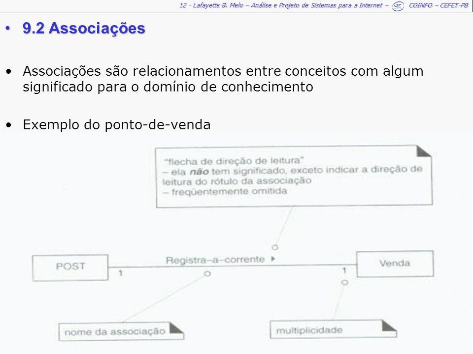 12 - Lafayette B. Melo – Análise e Projeto de Sistemas para a Internet – COINFO – CEFET-PB 9.2 Associações9.2 Associações Associações são relacionamen
