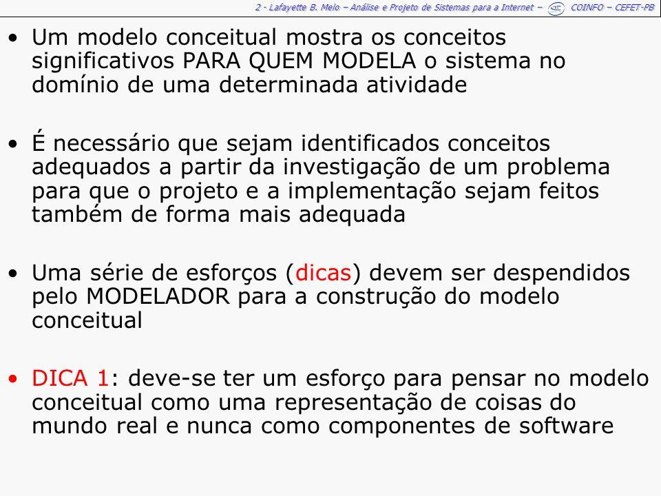 2 - Lafayette B. Melo – Análise e Projeto de Sistemas para a Internet – COINFO – CEFET-PB Um modelo conceitual mostra os conceitos significativos PARA
