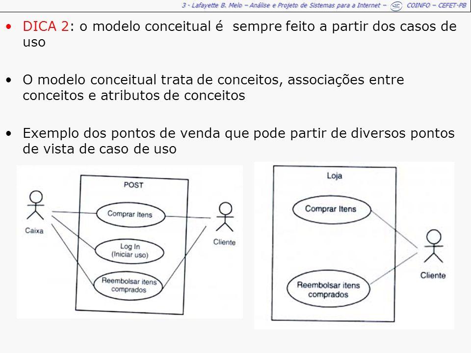 3 - Lafayette B. Melo – Análise e Projeto de Sistemas para a Internet – COINFO – CEFET-PB DICA 2: o modelo conceitual é sempre feito a partir dos caso