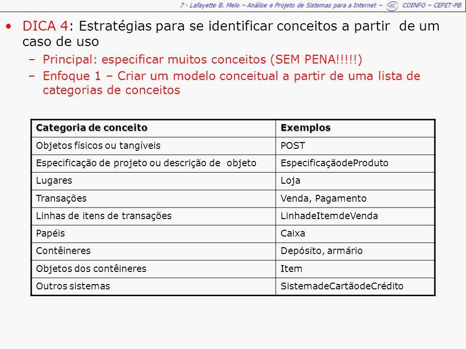 7 - Lafayette B. Melo – Análise e Projeto de Sistemas para a Internet – COINFO – CEFET-PB DICA 4: Estratégias para se identificar conceitos a partir d