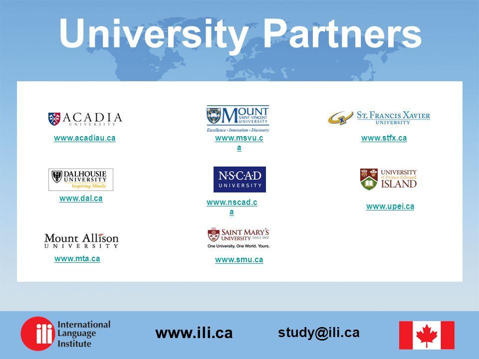 study@ili.ca www.ili.ca University Partners www.stfx.ca www.upei.ca www.dal.ca www.acadiau.ca www.smu.ca www.mta.ca www.msvu.c a www.nscad.c a