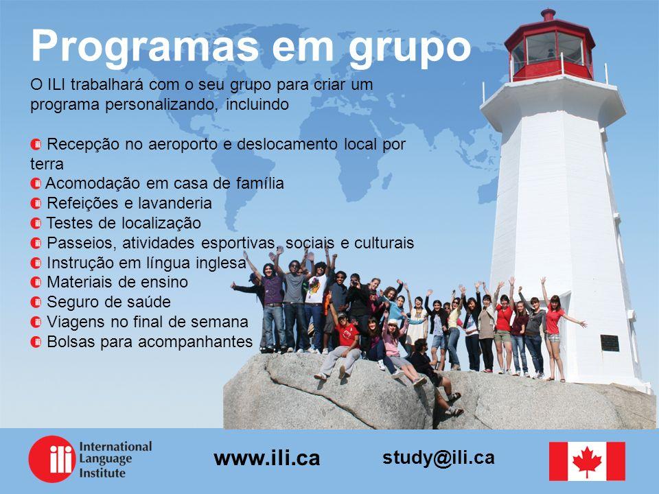 study@ili.ca www.ili.ca Programas em grupo O ILI trabalhará com o seu grupo para criar um programa personalizando, incluindo Recepção no aeroporto e d