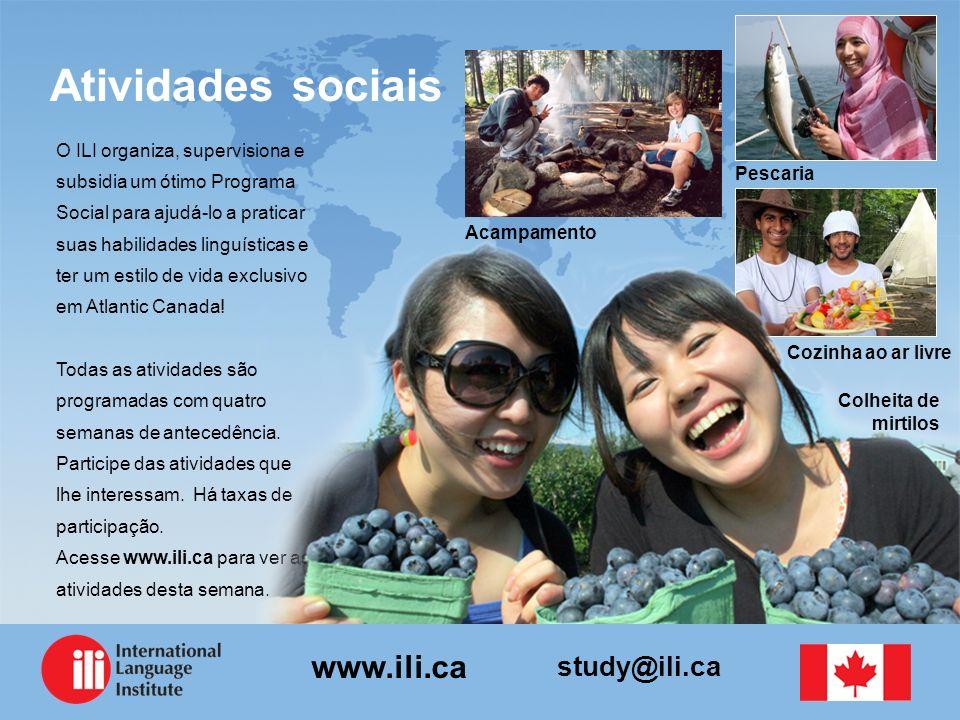 study@ili.ca www.ili.ca O ILI organiza, supervisiona e subsidia um ótimo Programa Social para ajudá-lo a praticar suas habilidades linguísticas e ter um estilo de vida exclusivo em Atlantic Canada.