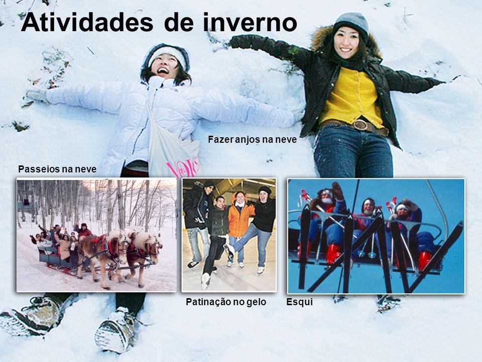 study@ili.ca www.ili.ca Atividades de inverno Passeios na neve Patinação no geloEsqui Fazer anjos na neve