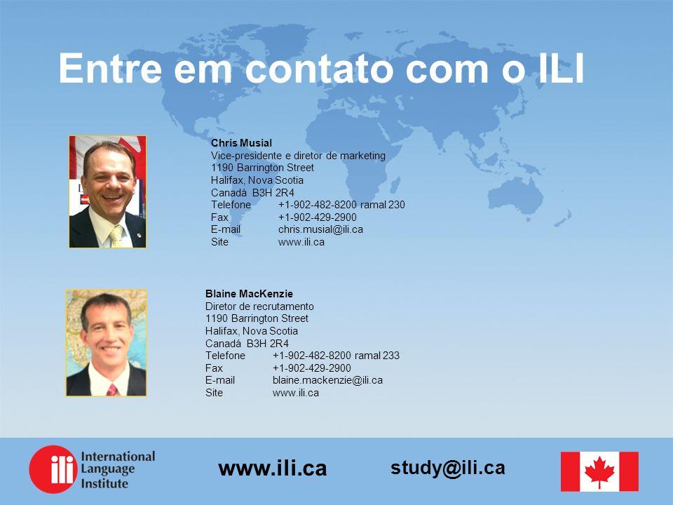 study@ili.ca www.ili.ca Entre em contato com o ILI Chris Musial Vice-presidente e diretor de marketing 1190 Barrington Street Halifax, Nova Scotia Can