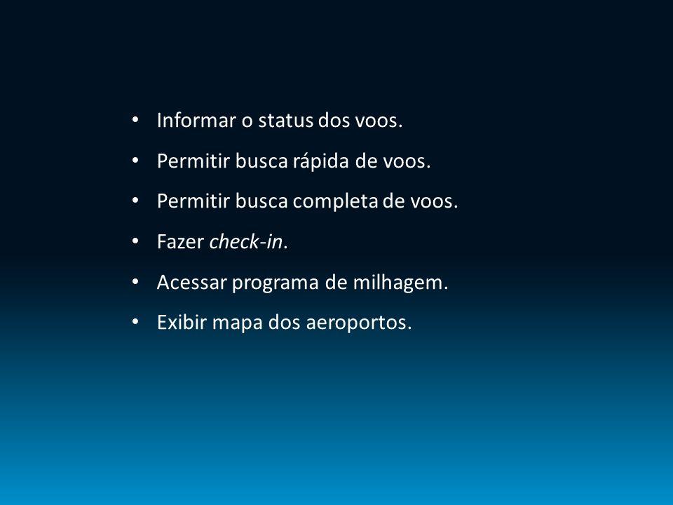 Informar o status dos voos. Permitir busca rápida de voos. Permitir busca completa de voos. Fazer check-in. Acessar programa de milhagem. Exibir mapa