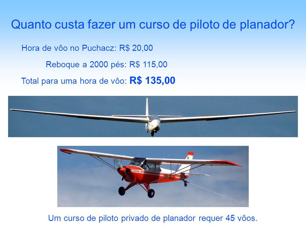 Hora de vôo no Puchacz: R$ 20,00 Quanto custa fazer um curso de piloto de planador? Reboque a 2000 pés: R$ 115,00 Total para uma hora de vôo: R$ 135,0