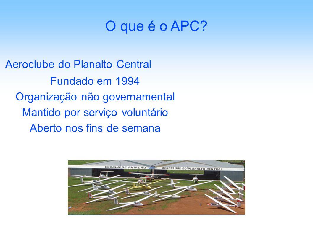 Aeroclube do Planalto Central O que é o APC? Organização não governamental Mantido por serviço voluntário Aberto nos fins de semana Fundado em 1994