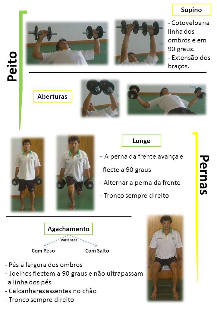 Peito Supino Aberturas Pernas - Cotovelos na linha dos ombros e em 90 graus.