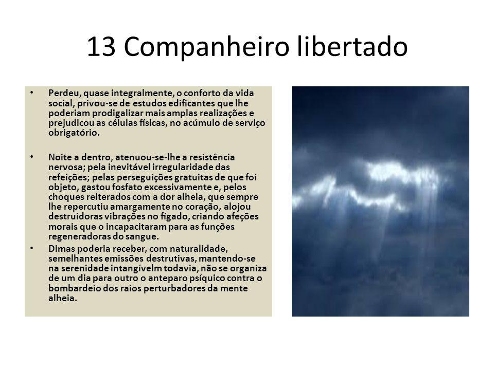 13 Companheiro libertado Perdeu, quase integralmente, o conforto da vida social, privou-se de estudos edificantes que lhe poderiam prodigalizar mais a