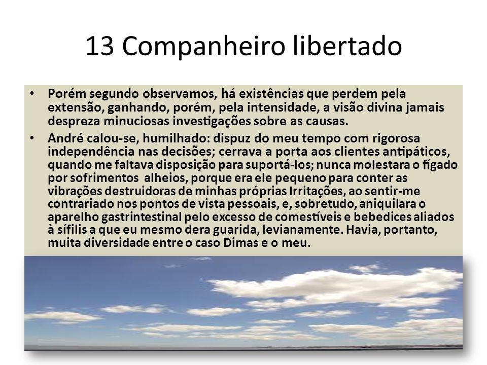 13 Companheiro libertado Porém segundo observamos, há existências que perdem pela extensão, ganhando, porém, pela intensidade, a visão divina jama