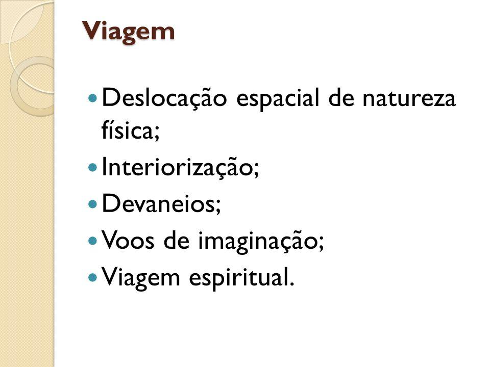 Viagem Deslocação espacial de natureza física; Interiorização; Devaneios; Voos de imaginação; Viagem espiritual.