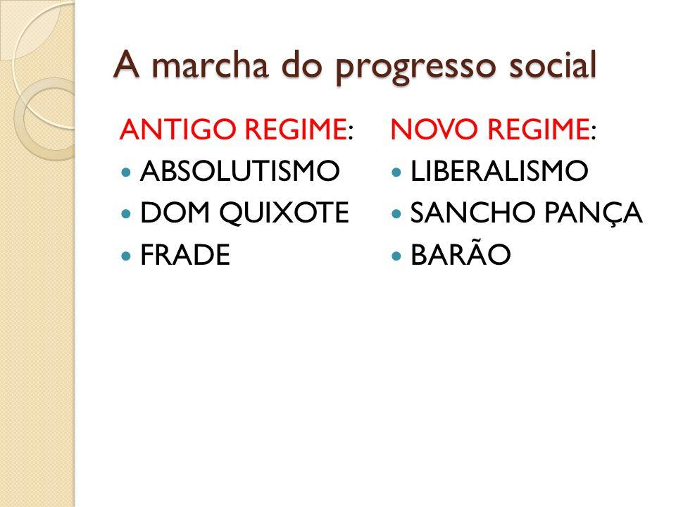 A marcha do progresso social ANTIGO REGIME: ABSOLUTISMO DOM QUIXOTE FRADE NOVO REGIME: LIBERALISMO SANCHO PANÇA BARÃO