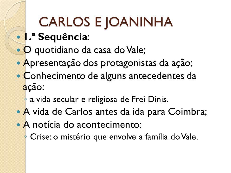 CARLOS E JOANINHA 1.ª Sequência: O quotidiano da casa do Vale; Apresentação dos protagonistas da ação; Conhecimento de alguns antecedentes da ação: a