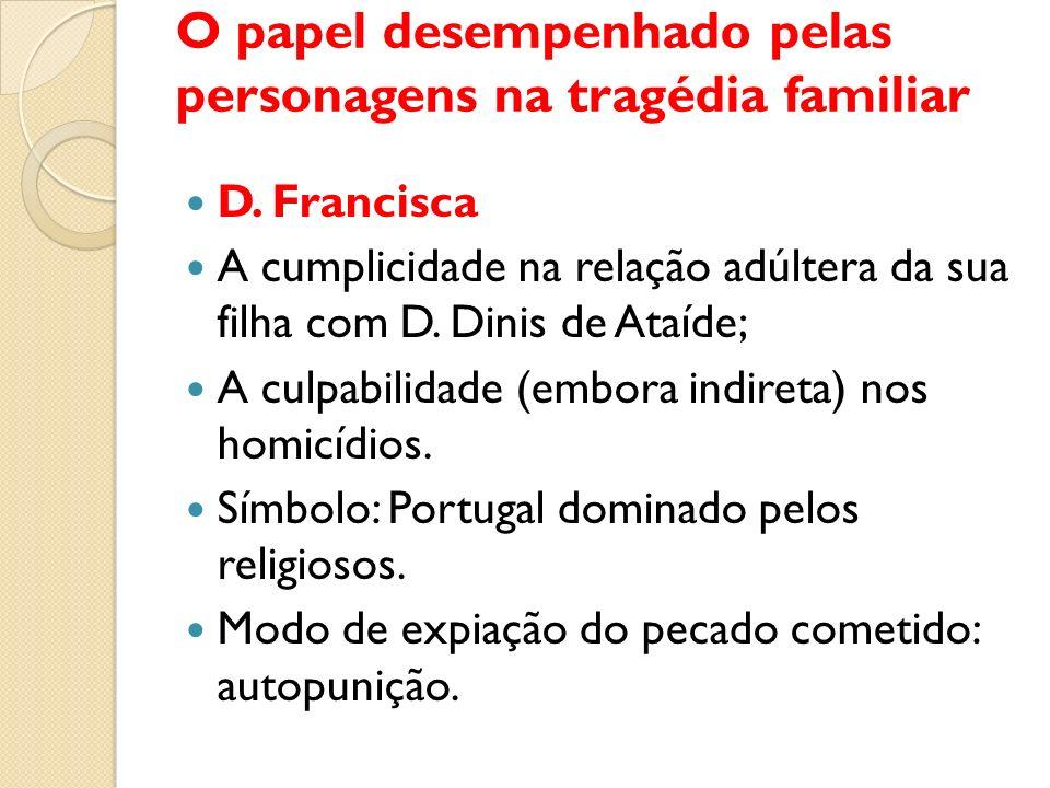 O papel desempenhado pelas personagens na tragédia familiar D. Francisca A cumplicidade na relação adúltera da sua filha com D. Dinis de Ataíde; A cul