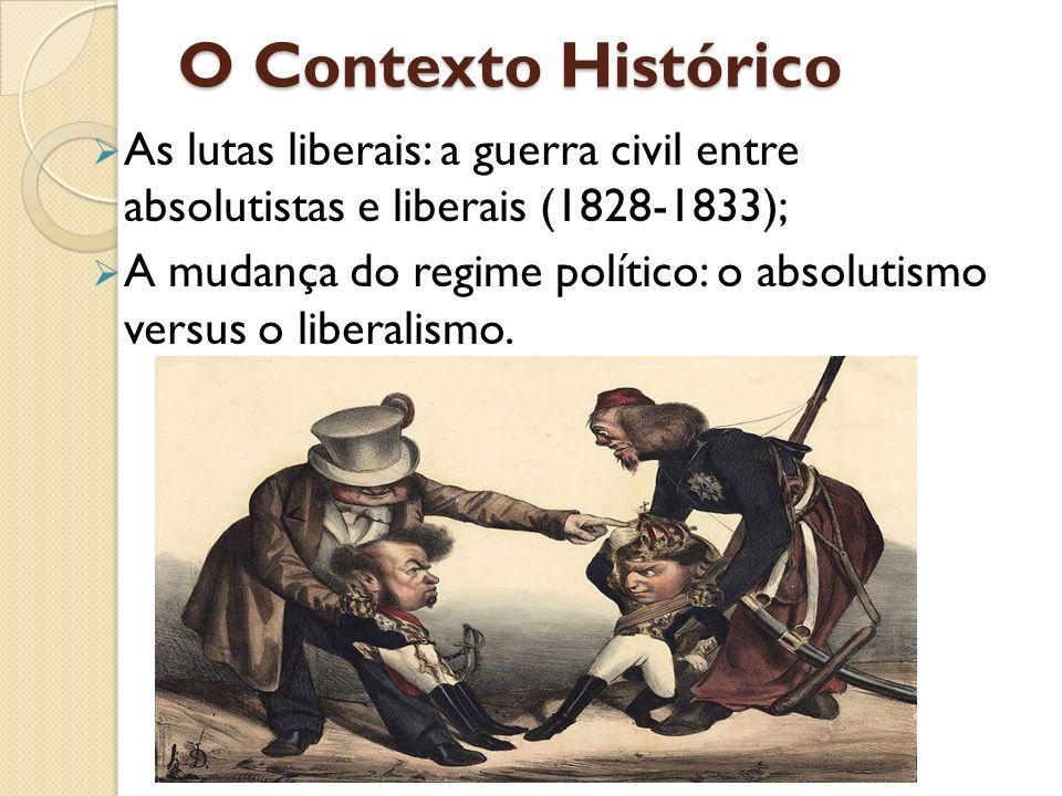 O Contexto Histórico As lutas liberais: a guerra civil entre absolutistas e liberais (1828-1833); A mudança do regime político: o absolutismo versus o