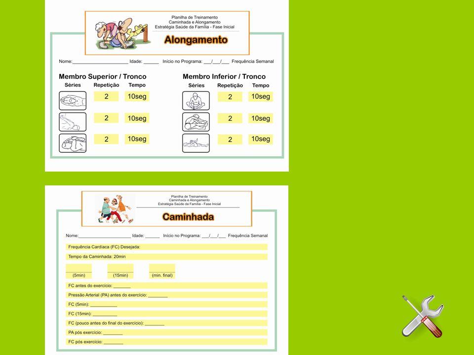 SUGESTÃO DA ROTINA PARA O DESENVOLVIMENTO ESPECÍFICO DO TREINAMENTO NAS UNIDADES BÁSICAS DE SAÚDE Instruir sobre procedimentos caso haja alguma emergência; Apresentar toda equipe envolvida no programa; Apresentar a Planilha de Treinamento; Rotineiro controle visando informações referentes ao uso criterioso dos medicamentos prescritos pelo médico; Conscientização em relação a necessidade de procura do médico para uma possível suspensão da sessão de treinamento por ocasião de sinais e sintomas que possam aparecer fora do horário das sessões de treinamento como casa e trabalho;