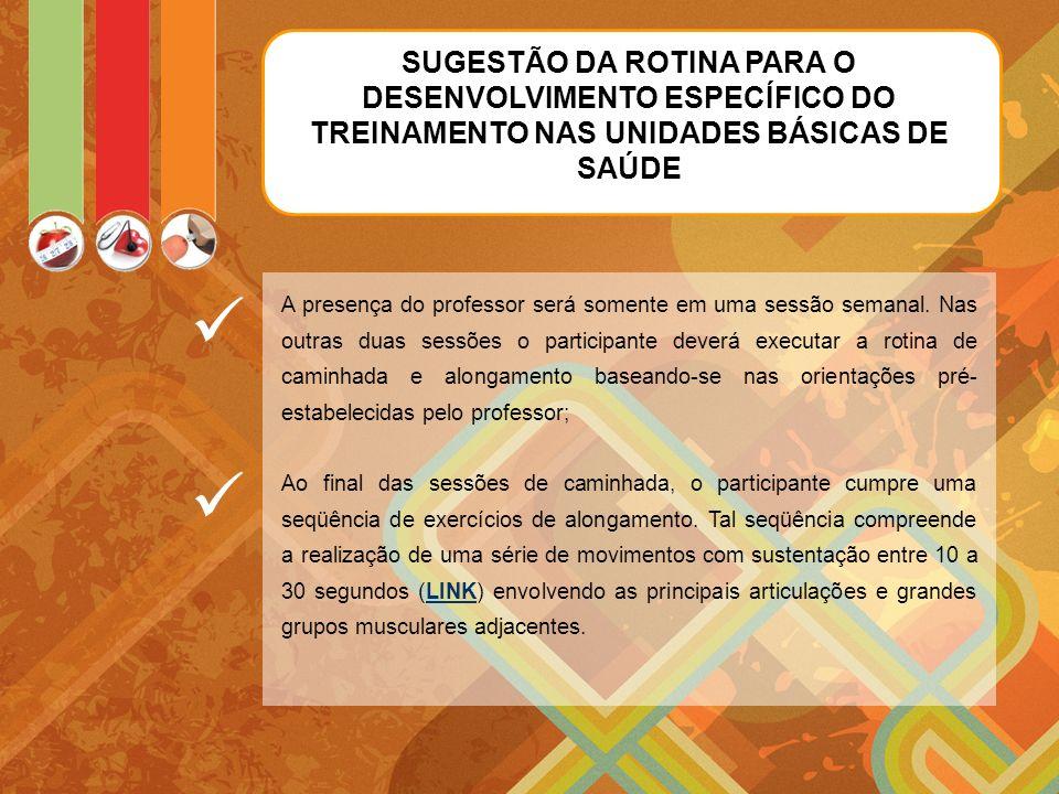 SUGESTÃO DA ROTINA PARA O DESENVOLVIMENTO ESPECÍFICO DO TREINAMENTO NAS UNIDADES BÁSICAS DE SAÚDE A presença do professor será somente em uma sessão semanal.