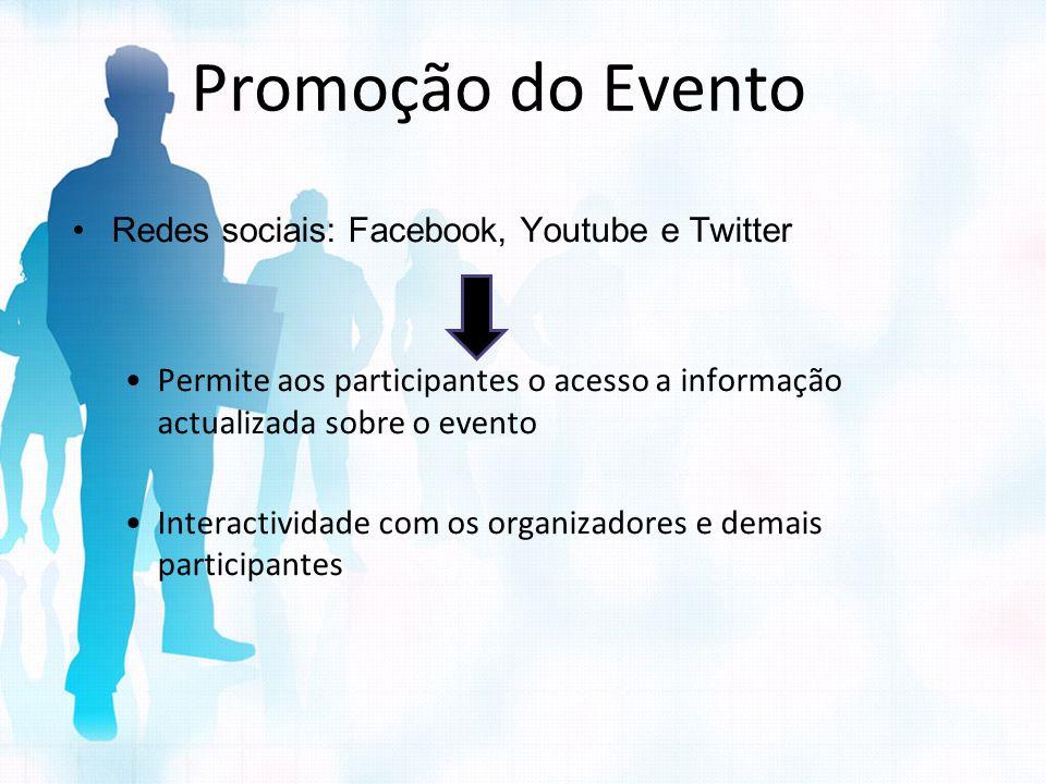 Promoção do Evento Redes sociais: Facebook, Youtube e Twitter Permite aos participantes o acesso a informação actualizada sobre o evento Interactivida