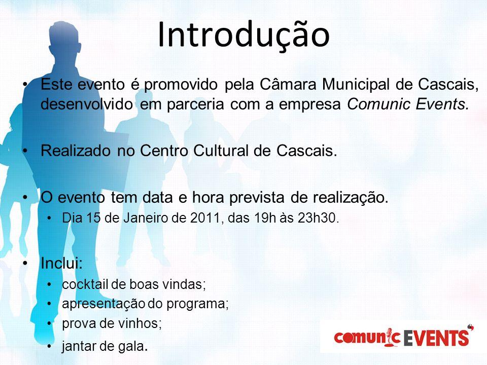 Introdução Este evento é promovido pela Câmara Municipal de Cascais, desenvolvido em parceria com a empresa Comunic Events. Realizado no Centro Cultur