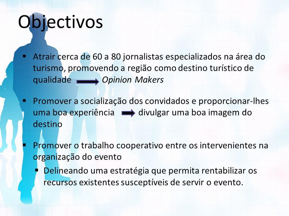 Objectivos Atrair cerca de 60 a 80 jornalistas especializados na área do turismo, promovendo a região como destino turístico de qualidade Opinion Make