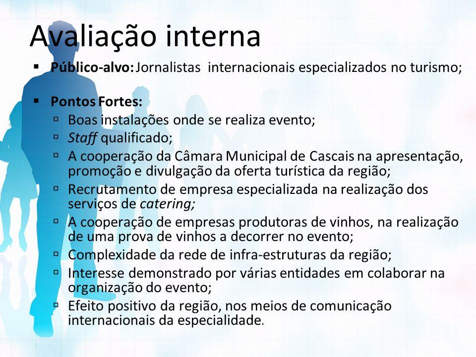 Avaliação interna Público-alvo: Jornalistas internacionais especializados no turismo; Pontos Fortes: Boas instalações onde se realiza evento; Staff qu