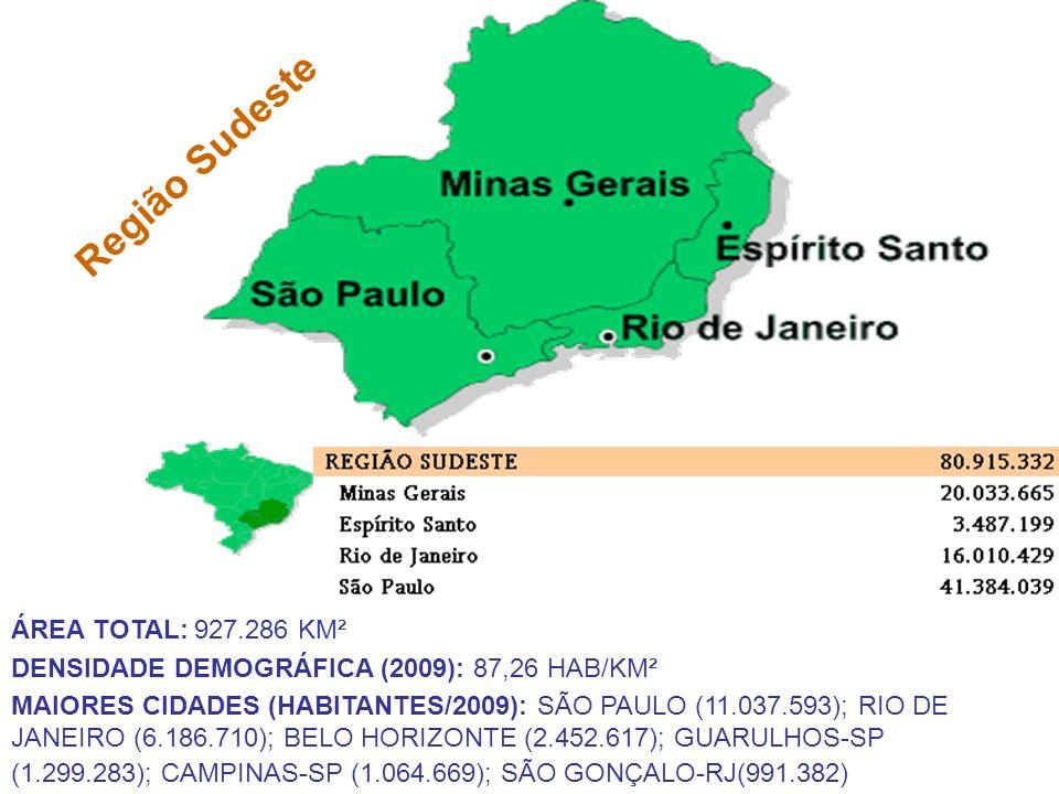 Região Sudeste ÁREA TOTAL: 927.286 KM² DENSIDADE DEMOGRÁFICA (2009): 87,26 HAB/KM² MAIORES CIDADES (HABITANTES/2009): SÃO PAULO (11.037.593); RIO DE J