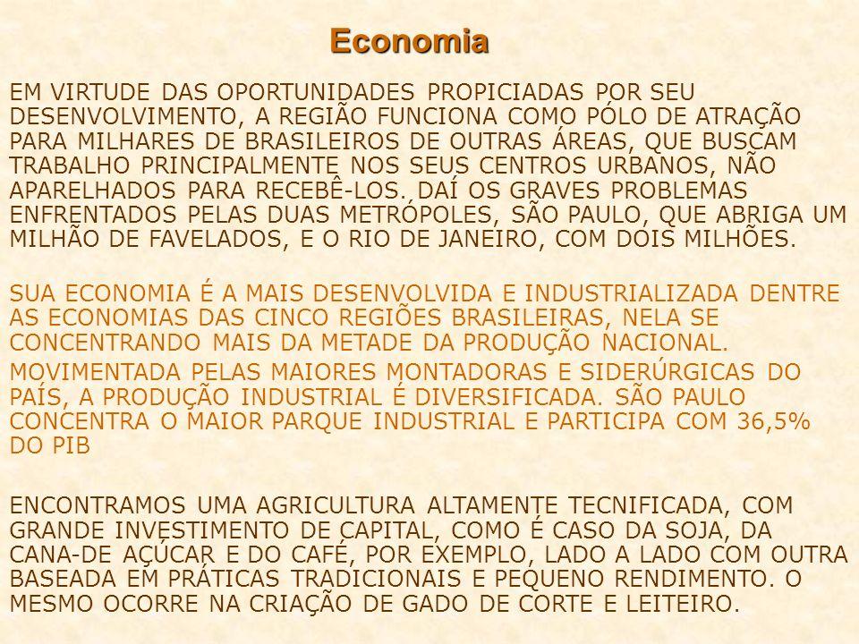 Economia EM VIRTUDE DAS OPORTUNIDADES PROPICIADAS POR SEU DESENVOLVIMENTO, A REGIÃO FUNCIONA COMO PÓLO DE ATRAÇÃO PARA MILHARES DE BRASILEIROS DE OUTR