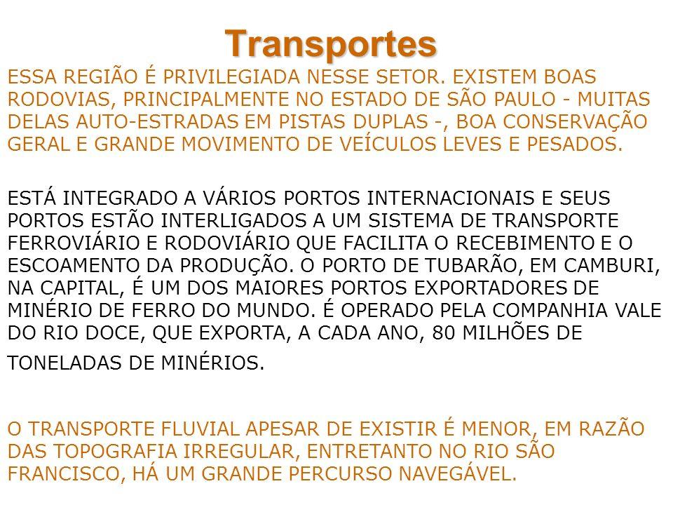 Transportes ESSA REGIÃO É PRIVILEGIADA NESSE SETOR. EXISTEM BOAS RODOVIAS, PRINCIPALMENTE NO ESTADO DE SÃO PAULO - MUITAS DELAS AUTO-ESTRADAS EM PISTA