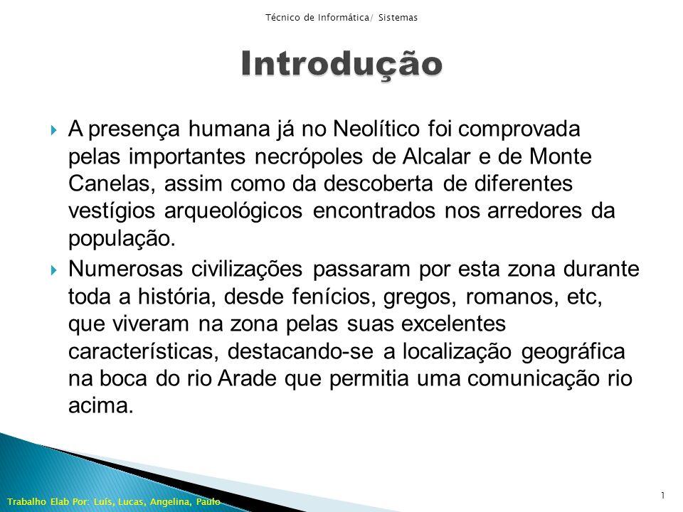 A presença humana já no Neolítico foi comprovada pelas importantes necrópoles de Alcalar e de Monte Canelas, assim como da descoberta de diferentes ve