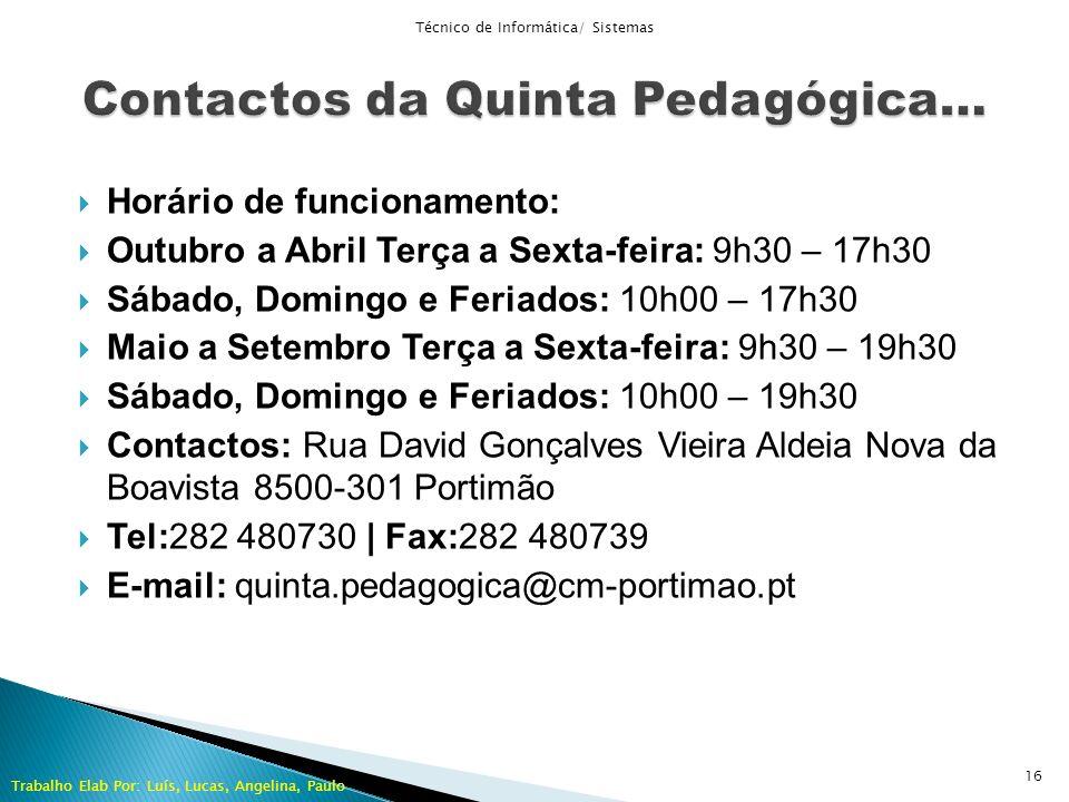 Horário de funcionamento: Outubro a Abril Terça a Sexta-feira: 9h30 – 17h30 Sábado, Domingo e Feriados: 10h00 – 17h30 Maio a Setembro Terça a Sexta-fe