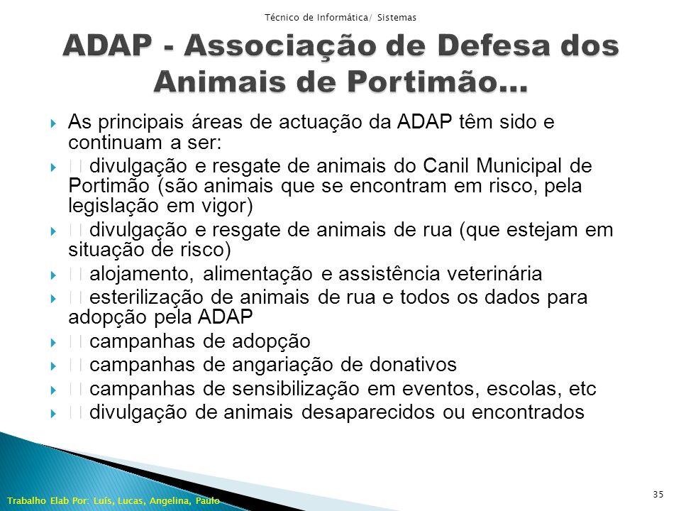 As principais áreas de actuação da ADAP têm sido e continuam a ser: divulgação e resgate de animais do Canil Municipal de Portimão (são animais que se