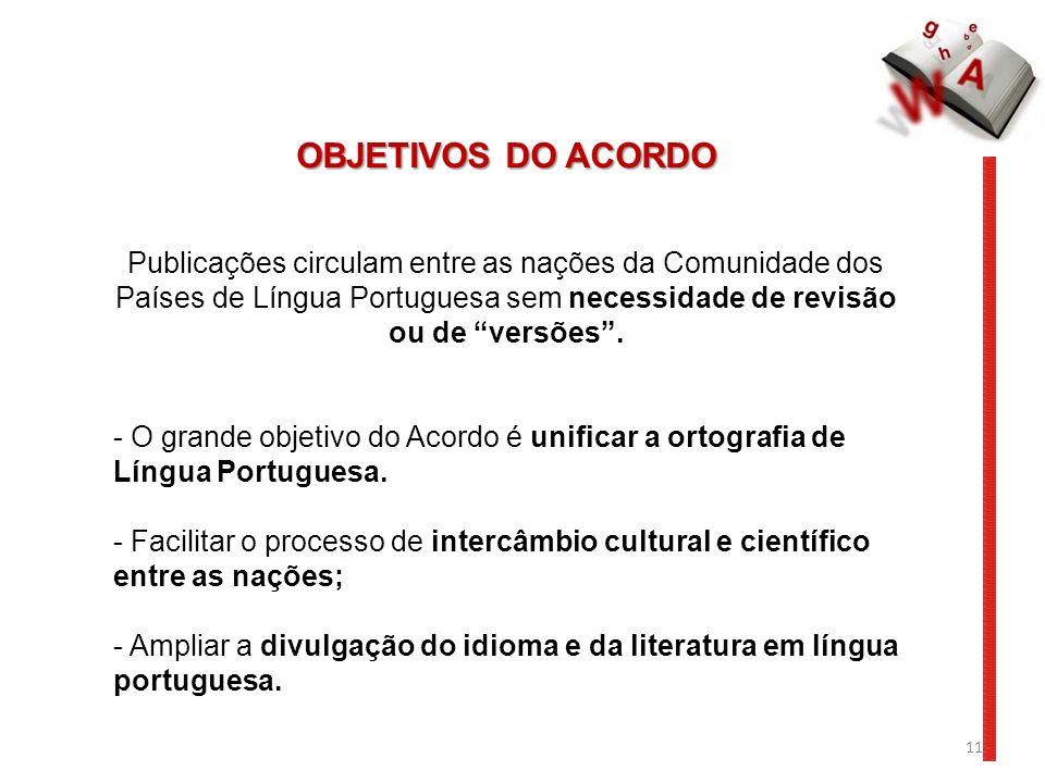 11 OBJETIVOS DO ACORDO Publicações circulam entre as nações da Comunidade dos Países de Língua Portuguesa sem necessidade de revisão ou de versões. -