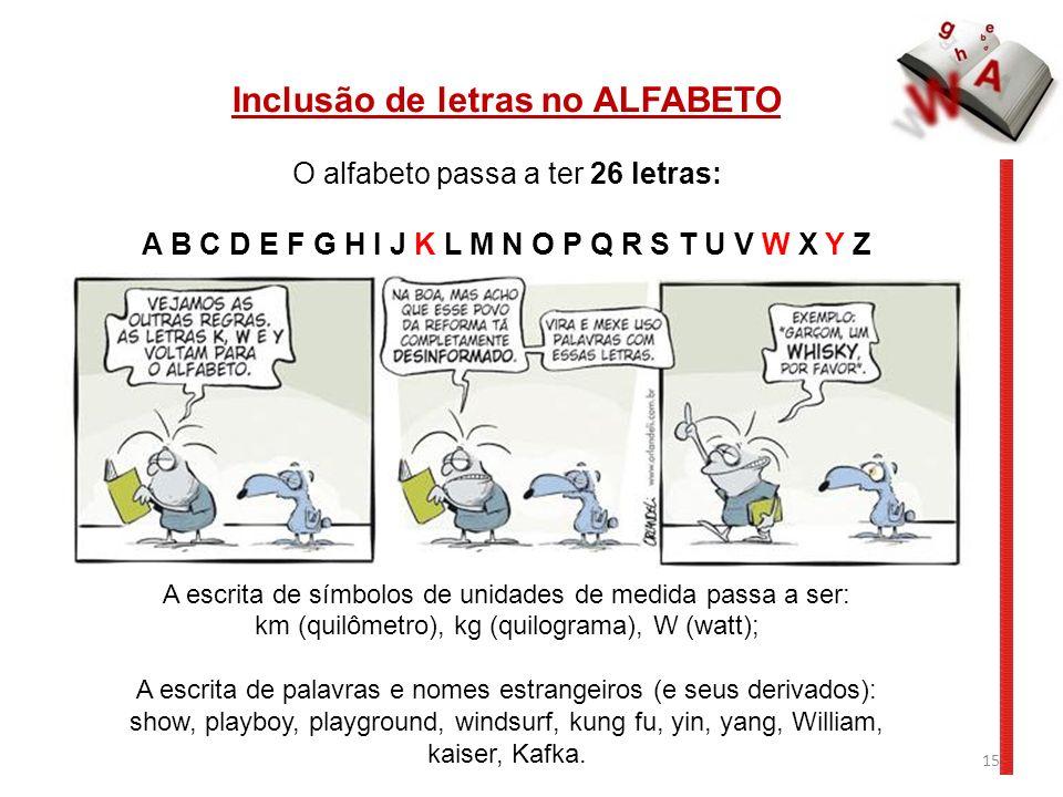 15 Inclusão de letras no ALFABETO O alfabeto passa a ter 26 letras: A B C D E F G H I J K L M N O P Q R S T U V W X Y Z A escrita de símbolos de unida