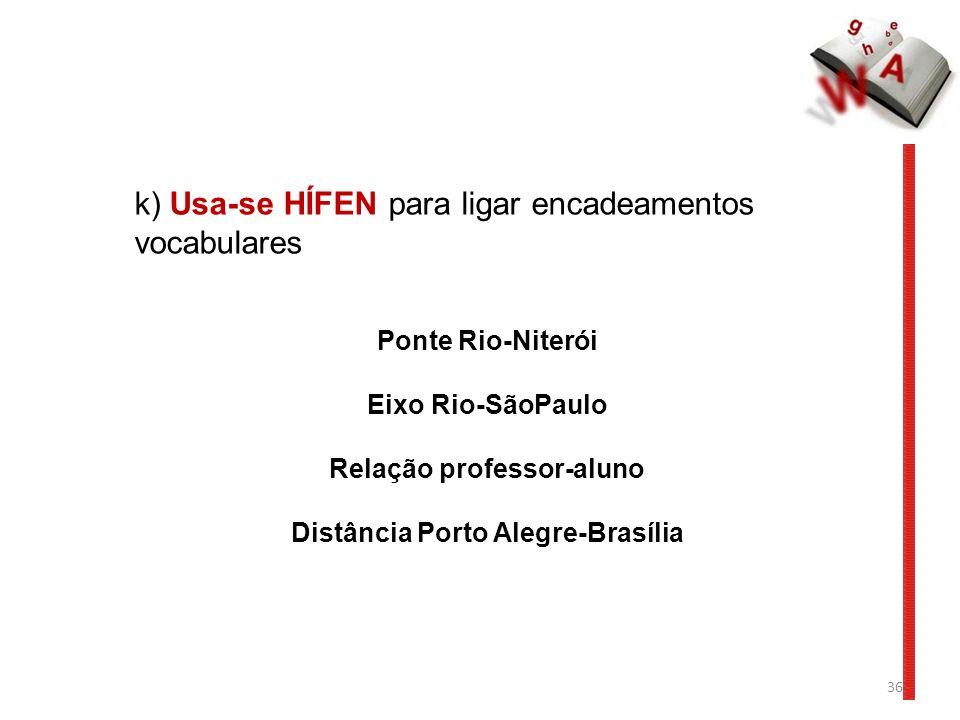 36 k) Usa-se HÍFEN para ligar encadeamentos vocabulares Ponte Rio-Niterói Eixo Rio-SãoPaulo Relação professor-aluno Distância Porto Alegre-Brasília