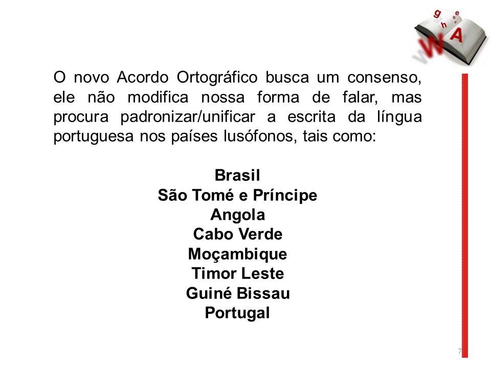 O novo Acordo Ortográfico busca um consenso, ele não modifica nossa forma de falar, mas procura padronizar/unificar a escrita da língua portuguesa nos