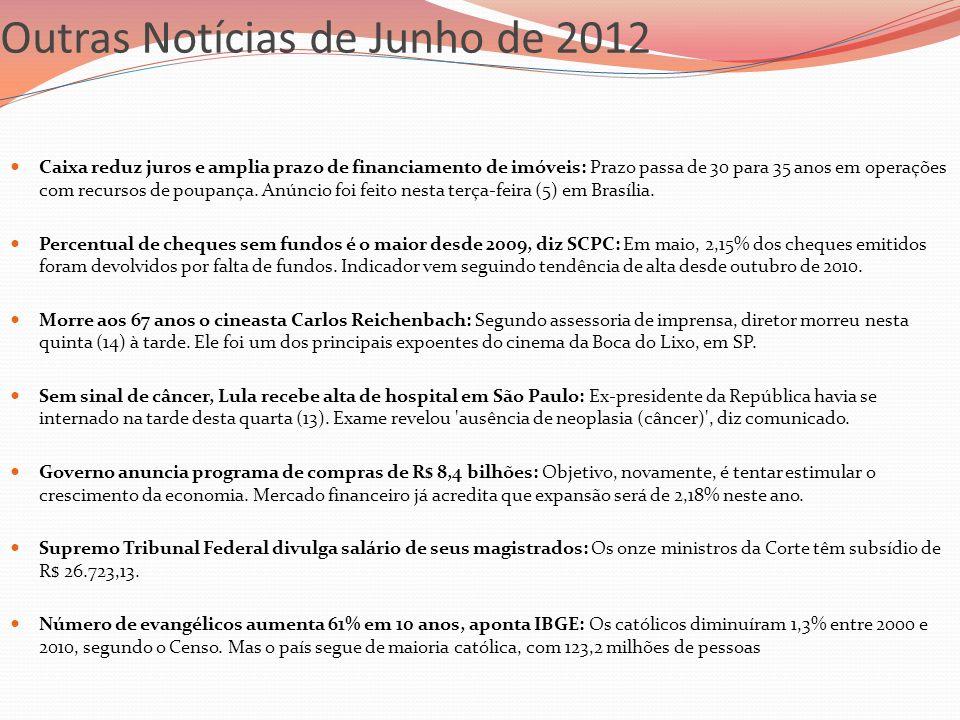 Outras Notícias de Junho de 2012 Caixa reduz juros e amplia prazo de financiamento de imóveis: Prazo passa de 30 para 35 anos em operações com recurso