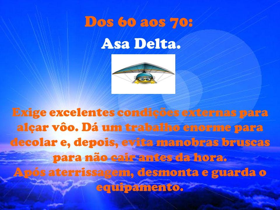Dos 60 aos 70: Asa Delta.Exige excelentes condições externas para alçar vôo.