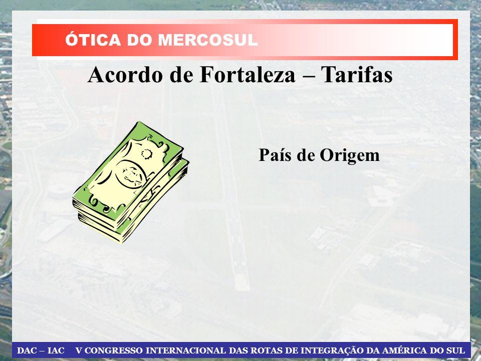 DAC – IAC V CONGRESSO INTERNACIONAL DAS ROTAS DE INTEGRAÇÃO DA AMÉRICA DO SUL Acordo de Fortaleza – Tarifas País de Origem ÓTICA DO MERCOSUL