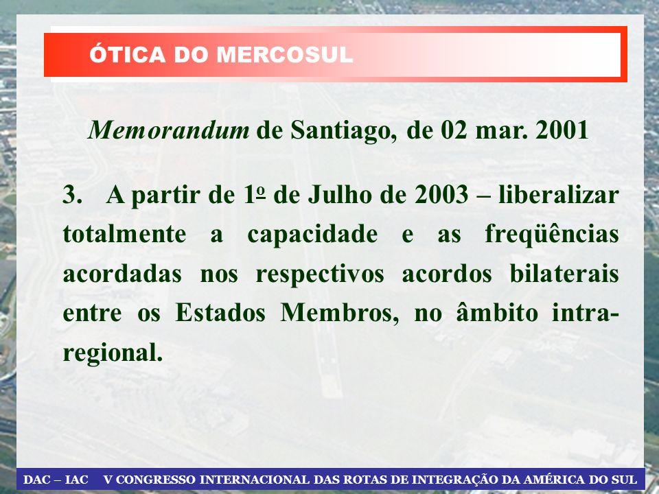 DAC – IAC V CONGRESSO INTERNACIONAL DAS ROTAS DE INTEGRAÇÃO DA AMÉRICA DO SUL ÓTICA DO MERCOSUL 3.