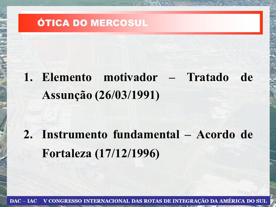 DAC – IAC V CONGRESSO INTERNACIONAL DAS ROTAS DE INTEGRAÇÃO DA AMÉRICA DO SUL 1.Elemento motivador – Tratado de Assunção (26/03/1991) 2.Instrumento fundamental – Acordo de Fortaleza (17/12/1996) ÓTICA DO MERCOSUL