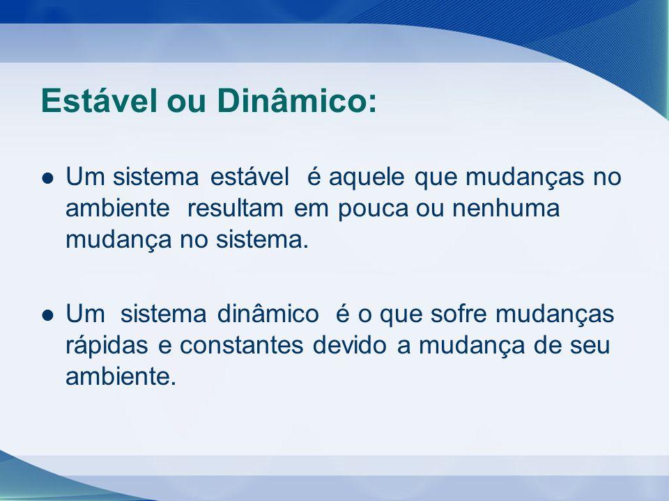Estável ou Dinâmico: Um sistema estável é aquele que mudanças no ambiente resultam em pouca ou nenhuma mudança no sistema. Um sistema dinâmico é o que