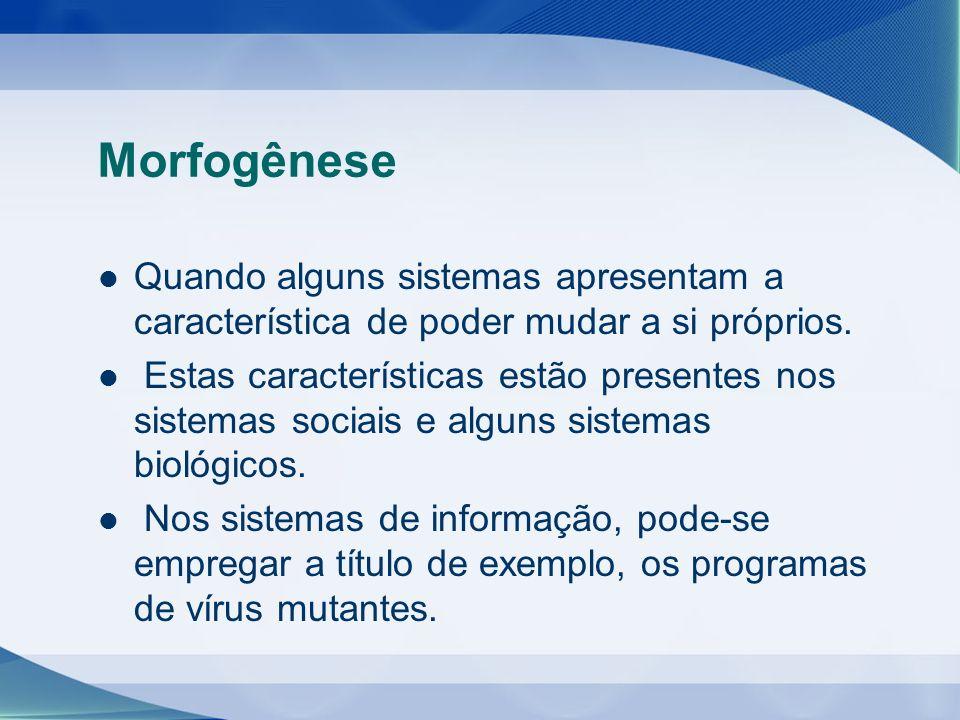 Morfogênese Quando alguns sistemas apresentam a característica de poder mudar a si próprios. Estas características estão presentes nos sistemas sociai