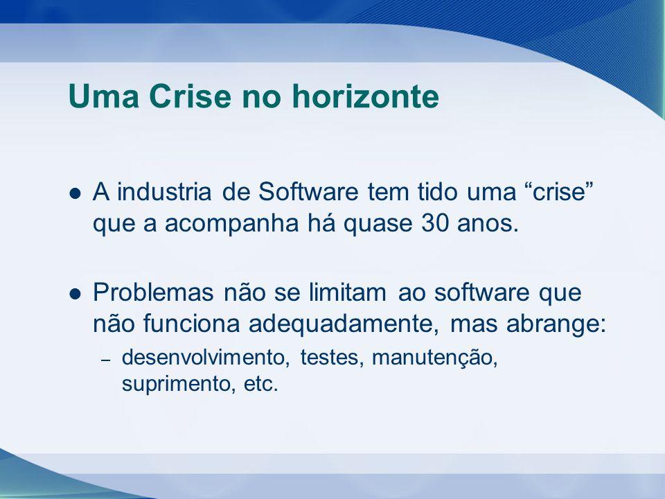 Uma Crise no horizonte A industria de Software tem tido uma crise que a acompanha há quase 30 anos. Problemas não se limitam ao software que não funci