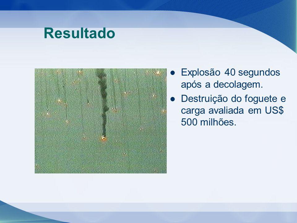 Resultado Explosão 40 segundos após a decolagem. Destruição do foguete e carga avaliada em US$ 500 milhões.