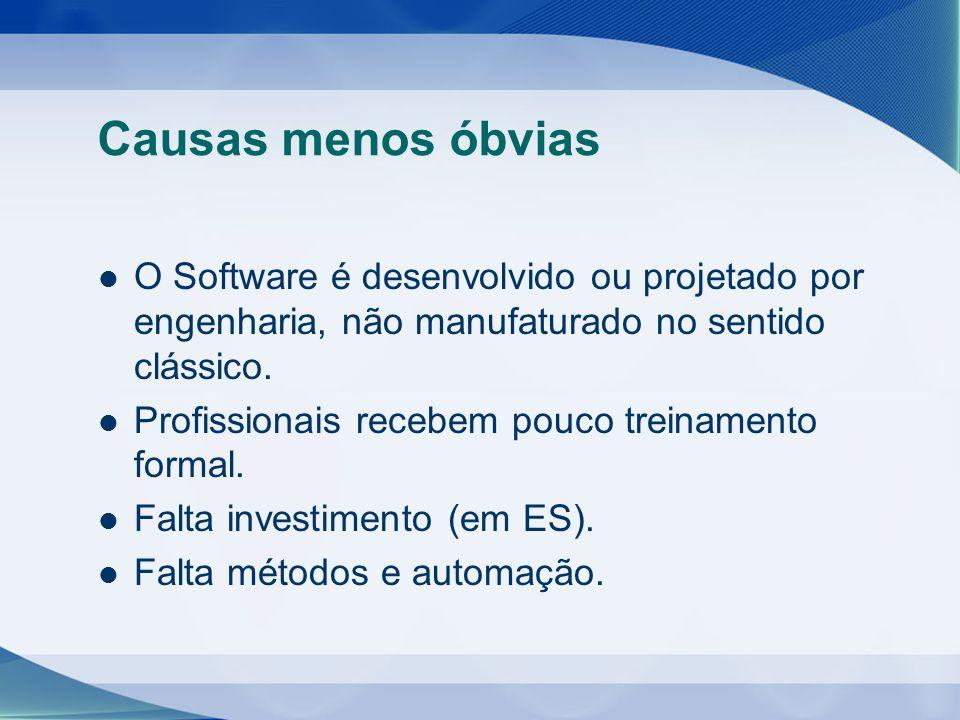 Causas menos óbvias O Software é desenvolvido ou projetado por engenharia, não manufaturado no sentido clássico. Profissionais recebem pouco treinamen