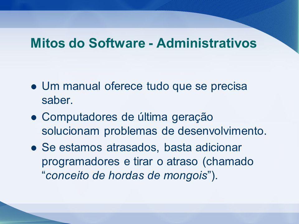 Mitos do Software - Administrativos Um manual oferece tudo que se precisa saber. Computadores de última geração solucionam problemas de desenvolviment
