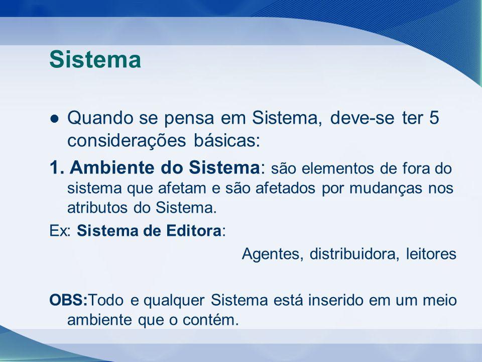 Sistema Quando se pensa em Sistema, deve-se ter 5 considerações básicas: 1. Ambiente do Sistema: são elementos de fora do sistema que afetam e são afe